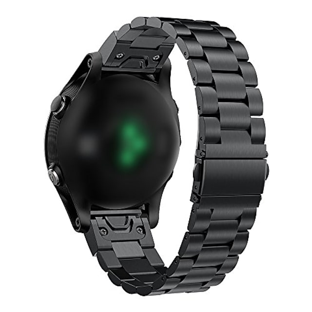 garmin fenix 6/6 pro / 6 사파이어 밴드와 호환 가능 fenix 6gps 시계 용 스테인레스 스틸 퀵 릴리스 키트 22mm 밴드 (블랙)