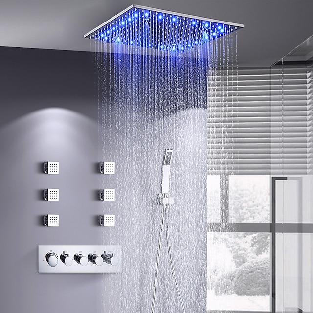 16 인치 샤워 꼭지 세트 스프레이 강우 샤워 헤드 천장 장착 LED 6 바디 제트 메시지 샤워 헤드 시스템 (샤워 꼭지 러프 인 밸브 바디 및 트림 포함)