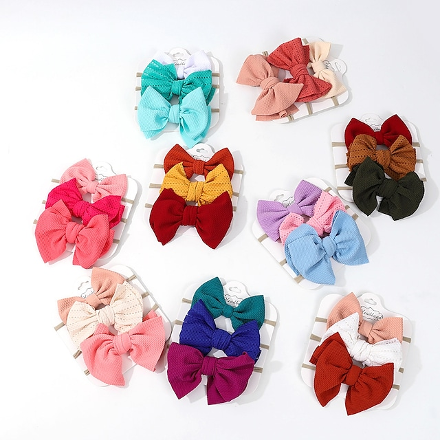 3 stuks Peuter / Baby Uniseks Actief / Zoet Effen Strik Haaraccessoires Blozend Roze / Klaver / Oranje Een maat / Haarbanden
