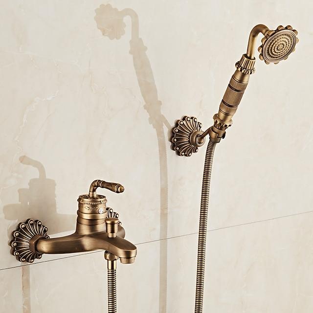 Badewannenarmaturen - Retro Antikes Messing Wandmontage Keramisches Ventil Bath Shower Mixer Taps / Landhaus Stil / Ein Griff / Ja / Regendusche / Handdusche inklusive
