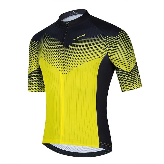 21Grams Erkek Kısa Kollu Bisiklet Forması Yaz Polyester Sarı Ekoseli Gradyan Bisiklet Forma Üstler Dağ Bisikletçiliği Yol Bisikletçiliği Hızlı Kuruma Nefes Alabilir Yansıtıcı çizgili Spor Dalları