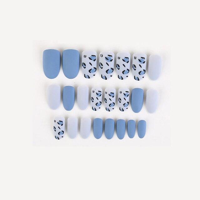 24 stks / pak blauwe nep nagel stickers draagbare nagels afgewerkte nagels verwijderbare nagels europese en amerikaanse franse ballet nagels