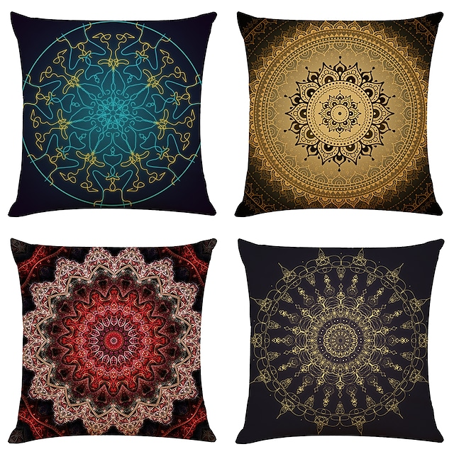 Cushion Cover 4PCS Linen Soft Mandala Square Throw Pillow Cover Cushion Case Pillowcase for Sofa Bedroom Superior Quality Machine Washable Outdoor Cushion for Sofa Couch Bed Chair