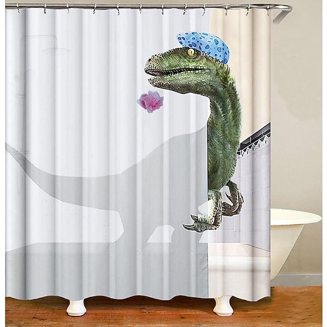 Rideaux de douche de salle de bain contemporain polyester imperméable à l'eau motif dinosaure rideau de baignoire avec crochets 1 pc
