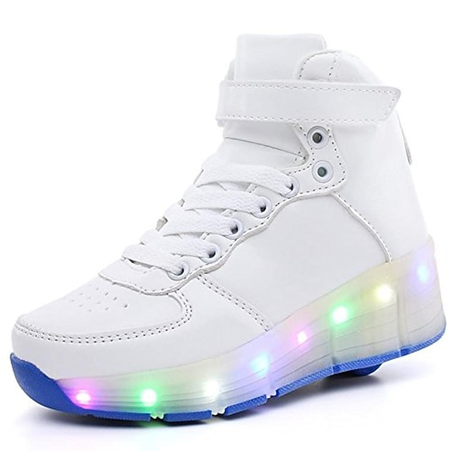 Boys' Girls' Roller Skating Shoes LED Shoes Synthetic leather Heelys Shoes Big Kids(7years +) Low white Low black White Spring, Fall, Winter, Summer All Seasons