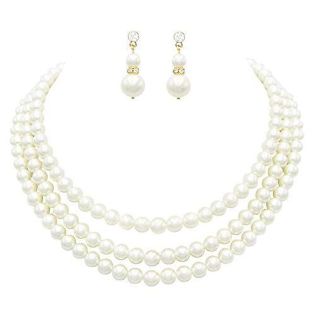 women's multi strand classic cream faux pearl necklace and earrings jewelry set