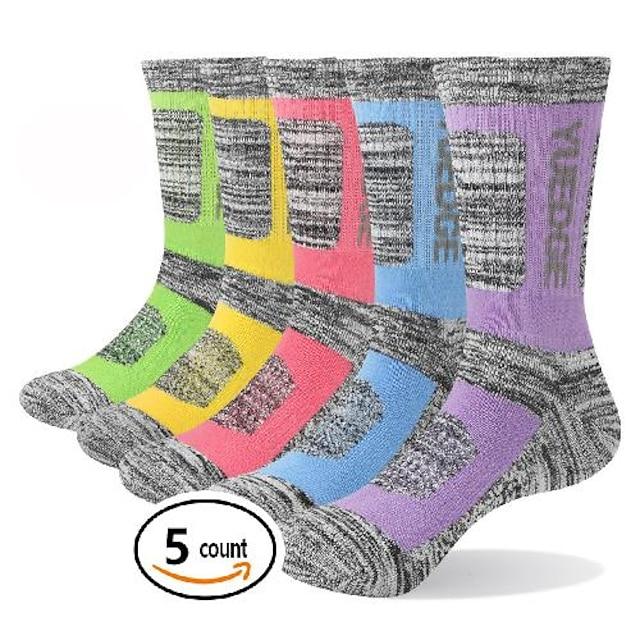 Ανδρικά Κάλτσες πεζοπορίας Κοντές Κάλτσες Κάλτσες για σκι 5 Ζεύγη Εξωτερική Αναπνέει Ύγρανση Αντι Φουσκάλες Moale Κάλτσες Κουρελού Γράμμα & Αριθμός Βαμβάκι Γκρίζο για