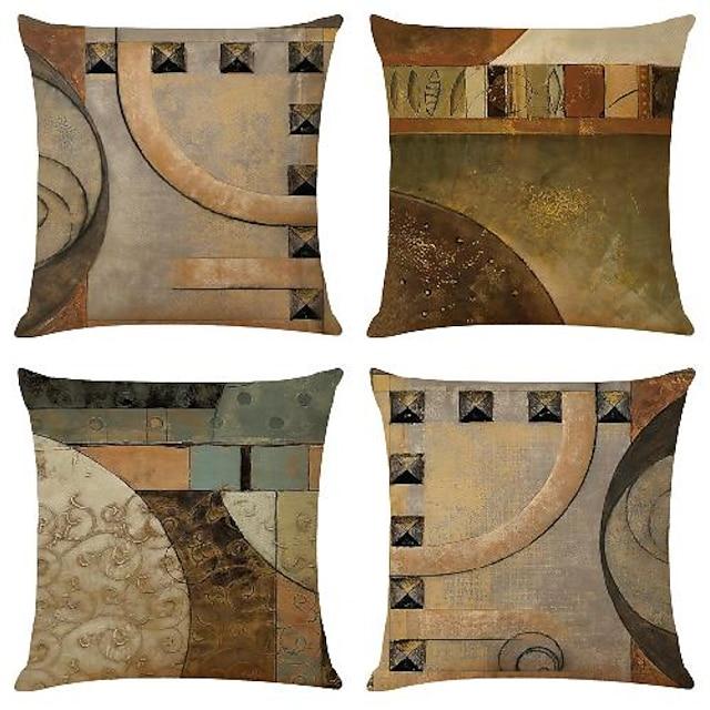 minder örtüsü 4 adet suni keten yumuşak dekoratif kare atmak yastık kılıfı minder kılıfı kanepe için yastık kılıfı yatak odası tek tarafı üstün kaliteli makinede yıkanabilir dış mekan minderi kanepe