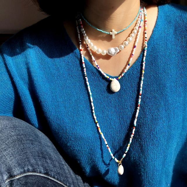 Women's Pendant Necklace Beaded Necklace Stacking Stackable Friends Precious Joy Lucky Faith Simple Unique Design Ethnic Fashion Pearl Glass Stone Rainbow 75 cm Necklace Jewelry 4pcs For Gift / Shell
