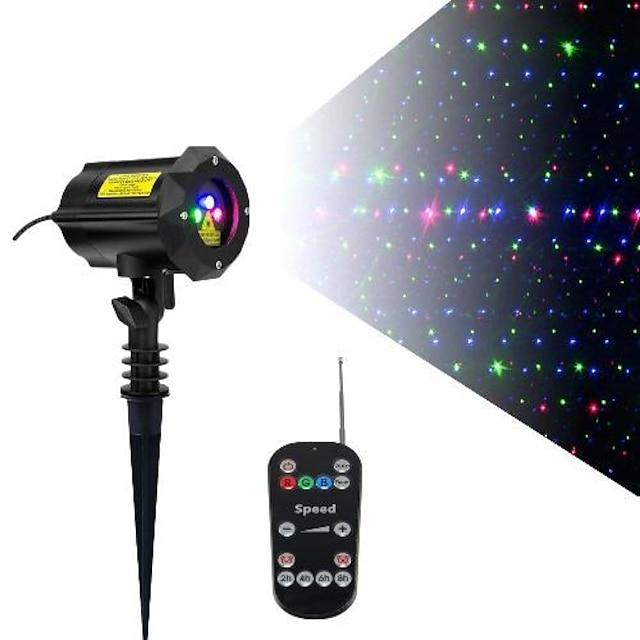 Proiettore a 3 luci laser con movimento a colori con telecomando rf e serratura di sicurezza luci laser da giardino per esterni stelle rgb in movimento ( lucciola rossa, verde e blu )