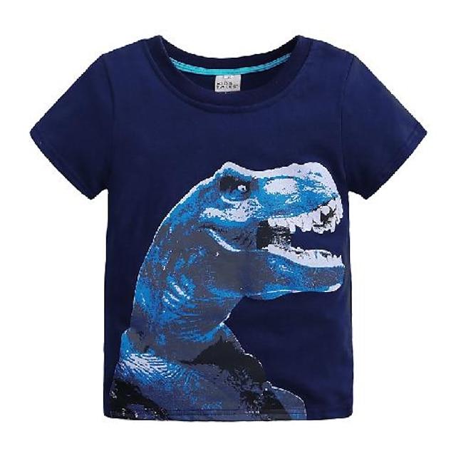 子供 男の子 Tシャツ Tシャツ 半袖 恐竜 ソリッド 動物 プリント ブルー 子供達 トップの 夏 ベーシック クール