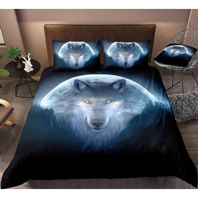 wolf print 3-piece duvet cover set hotel bedding sets comforter cover with soft lightweight microfiber, include 1 duvet cover, 2 pillowcases for double/queen/king(1 pillowcase for twin/single)