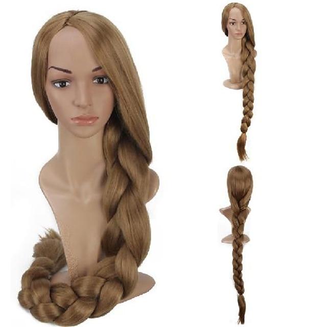 Cosplay Kostyme Parykk Rapunzel Krøllet Asymmetrisk frisyre Parykk Lang Lys Blond Syntetisk hår 48 tommers Dame Anime Cosplay Kreativ Blond