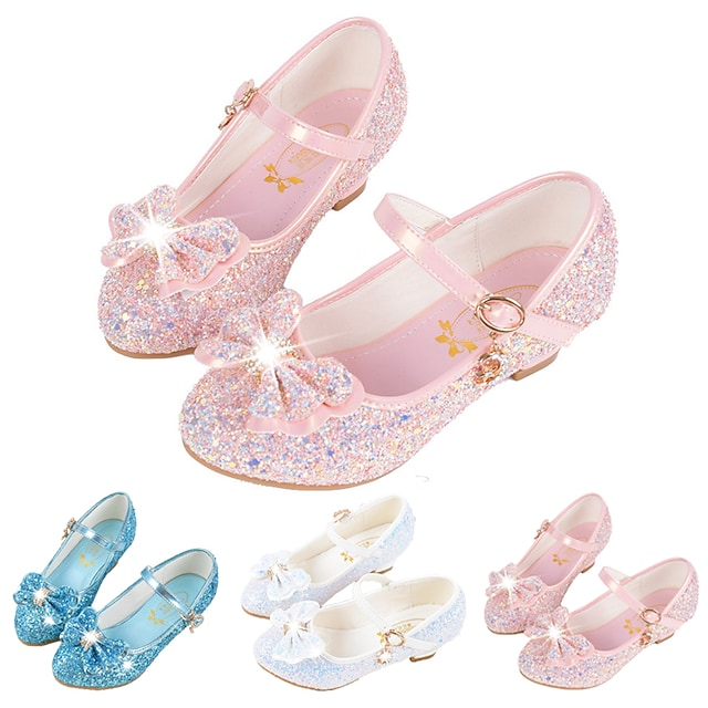Girls' Flats Glitters Princess Shoes Halloween Synthetic Microfiber PU Glitter Crystal Sequined Jeweled Little Kids(4-7ys) Big Kids(7years +) Casual Dress Buckle Sequin Blue Pink White Fall Winter