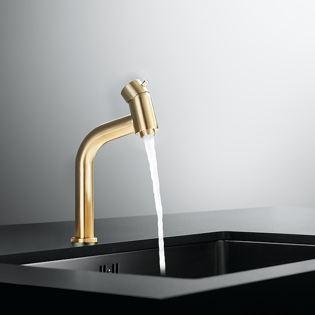 Bathroom Sink Faucet - Waterfall Nickel Brushed / Electroplated Centerset Single Handle One HoleBath Taps