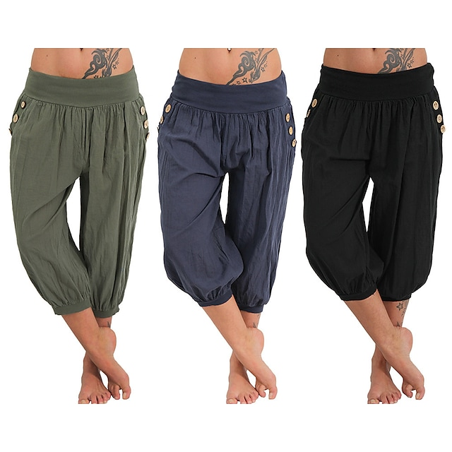 Women's Yoga Pants Side Pockets Harem Capri Pants Quick Dry Moisture Wicking Lightweight Hippie Boho Light Blue Tangerine powder Gray Fitness Gym Workout Pilates Winter Summer Sports Activewear