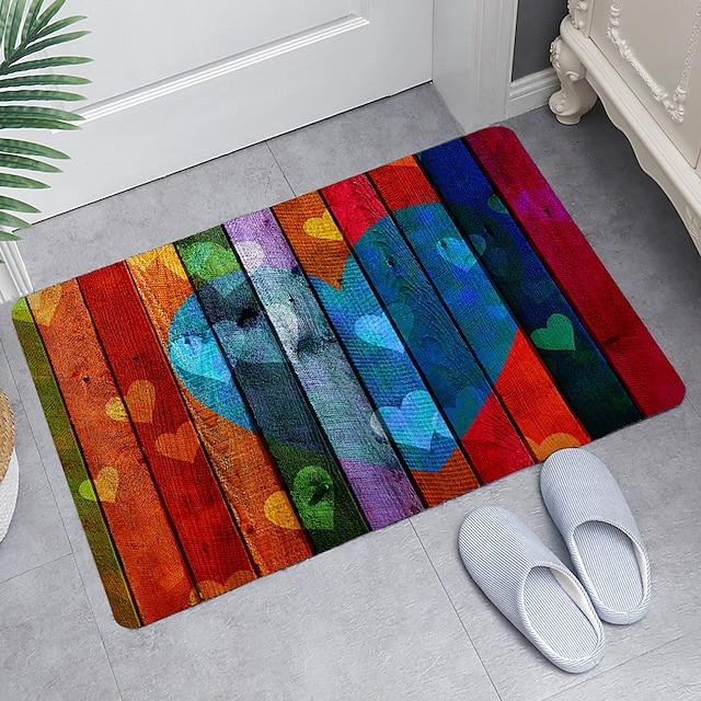 kleur liefde houten bord digitaal printen vloermat moderne badmatten non-woven traagschuim nieuwigheid badkamer