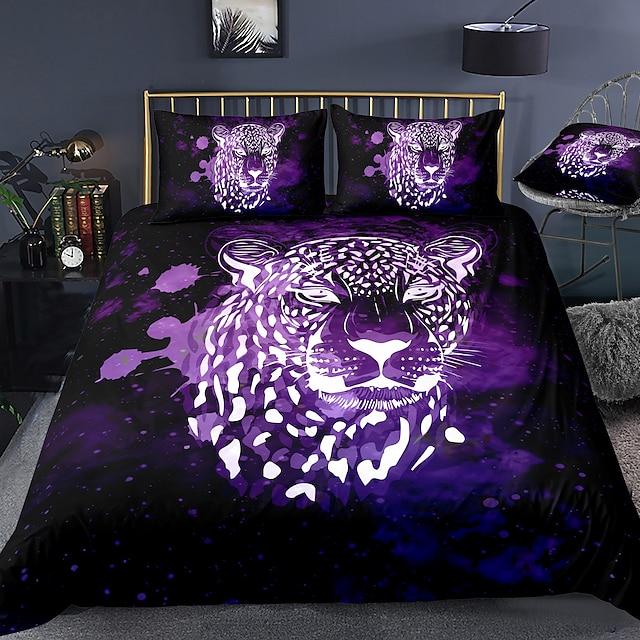 Conjunto de capa de edredão de 3 peças com estampa de leopardo 3D conjuntos de cama de hotel e capa de edredom com microfibra leve e macia para decoração de Natal (inclui 1 capa de edredão e 1 ou 2