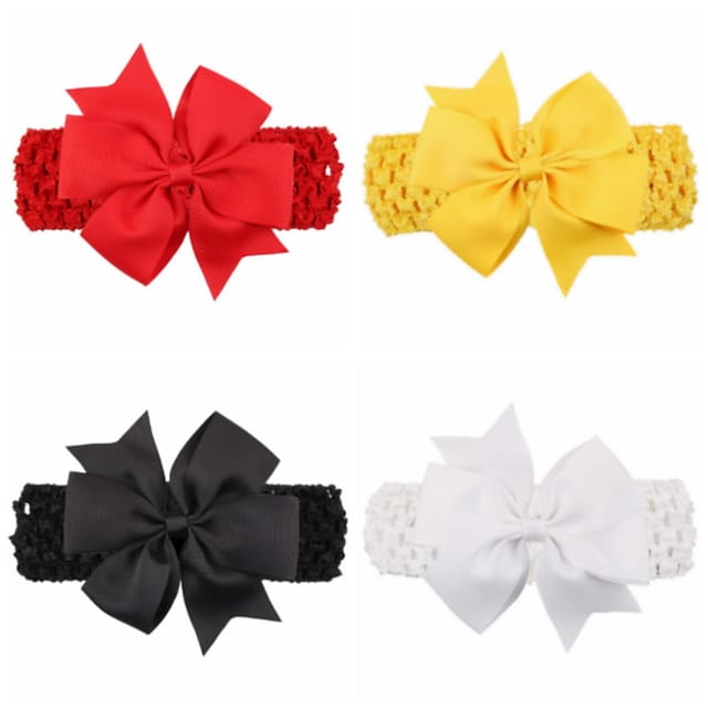 1pcs Toddler / Infant Girls' Active / Sweet Black / White / Red Solid Colored Bow Spandex Hair Accessories White / Black / Red One-Size