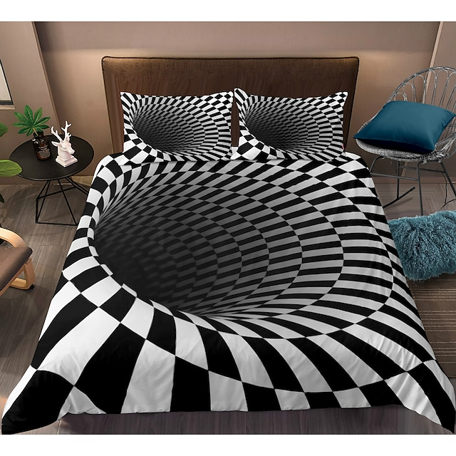 3D Vortex 3-Piece Duvet Cover Set Hotel Bedding Sets Comforter Cover with Soft Lightweight Microfiber, Include 1 Duvet Cover, 2 Pillowcases for Double/Queen/King(1 Pillowcase for Twin/Single)