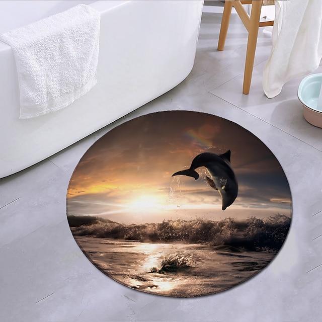 δελφίνια πηδώντας στο ηλιοβασίλεμα στρογγυλό χαλί χαλί πόρτα χαλί υπνοδωμάτιο σαλόνι χαλί δωμάτιο μελέτης χαλί κουζίνα μπάνιο αντιολισθητικό χαλί