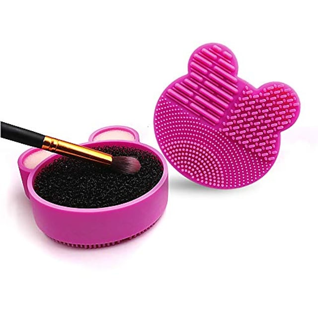 makeup brush cleaner mat, 2 in 1 brush cleaning mat, brush cleaner pad with cleaner sponge dry and wet cleaner, three functions for cleaning surface, portable cosmetic brush washing tool (rose red)