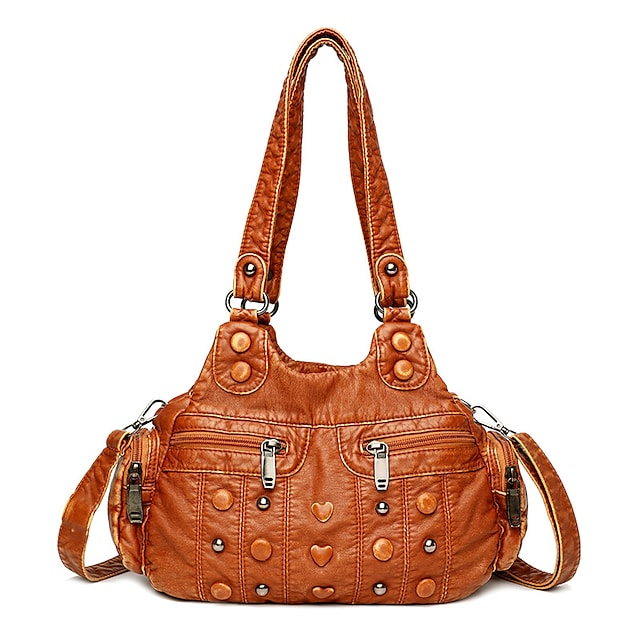 Women's Bags PU Leather Tote Hobo Bag Beading Embossed Embellished&Embroidered Plain Daily Date 2021 Handbags Black Yellow
