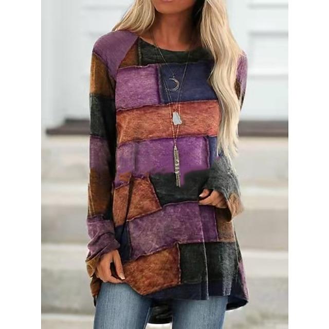 Femme Géométrique Sweats à capuche pour femmes Manches Longues Pull Cardigans Col Ras du Cou Automne Printemps Violet