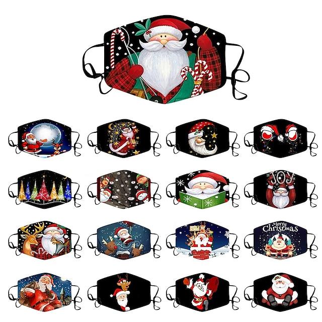 5 יחידות מסכות אזרחיות מודפסות חג מולד אופנה אוזניים תלויות סגנון מגוון אבק