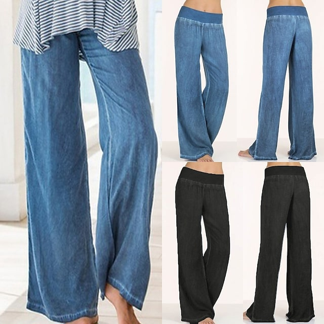 Women's High Waist Yoga Pants Elastic Waistband Palazzo Wide Leg Pants / Trousers Jeans Bottoms Tummy Control Quick Dry Moisture Wicking Blue Black Spandex Zumba Belly Dance Yoga Summer Plus Size