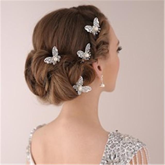 Imitation Pearl / Rhinestone / Alloy Headpiece / Hair Pin with Rhinestone / Faux Pearl 4 Pieces Wedding Headpiece