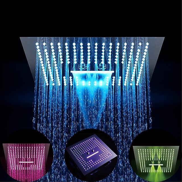 Termostatski tuš s kišom od 16 inča u kompletu s ekološkim nehrđajućim čelikom / 64-boja LED / tuš kabina + sustav mlaznice / masažne glave za tuširanje