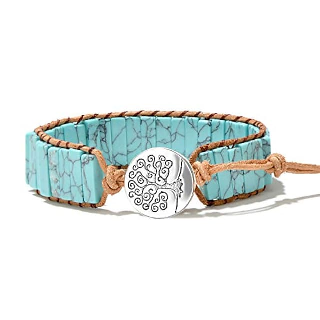mermaid boho chic turquoise wrap bracelet for womentree of life bead wrap bracelet chakra healing bracelet for summer with extended clasp