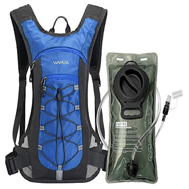 hydration backpack with 2l leak-proof water bladder, water backpack for short day hikes, day trips and cycling (blue)