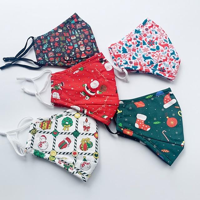 3 st jul bomullsmask för vuxna män och kvinnor tvättbar dammtät andningsbar älg godis juldag bomullstryckt mask