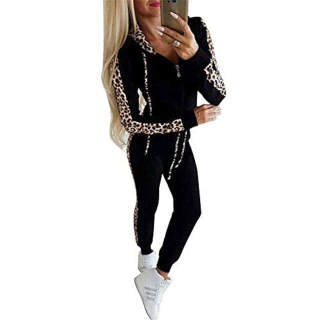 women's casual 2 piece jogger outfit matching leopard print long sleeve pullover hoodie zipper elastic band slim pant set sportwear (black, m)