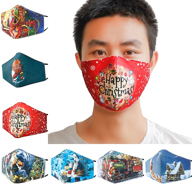 5 pcs Christmas 3D Printed Cotton Mask Winter Warm and Dust proof Fashion Breathable and WashableMask