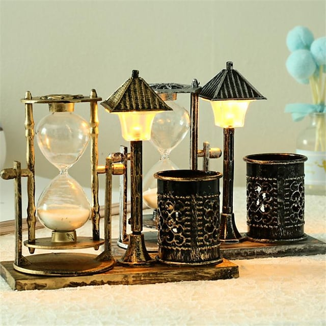 Creative Antique Sand Street Lamp Pen Holder Hourglass Small Night Light Decorations With Lights