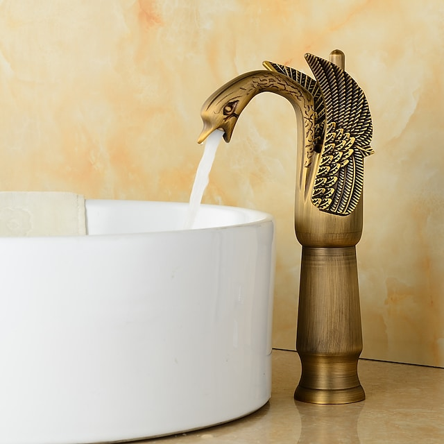BrassBathroom Faucet,Golden/Rustic Nickel/Rose Gold/Electroplated/Black/White & Golden Single Handle One Hole Waterfall Swan Bath Taps With Hot and Cold Water