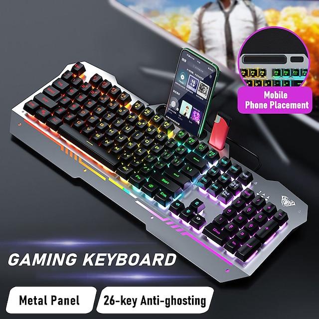 Aula verdrahtet USB gemischte Farbe leuchtende Gaming-Tastatur schwebende Tastenkappe Manipulator k500f einzelne Tastatur