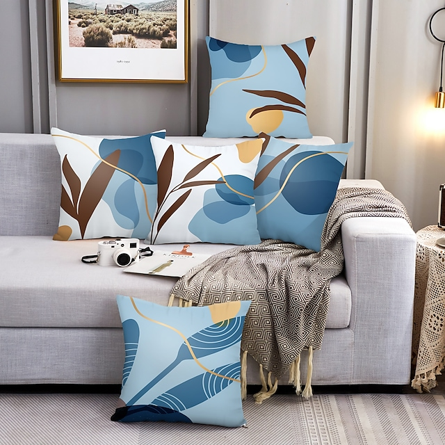 Cushion Cover 5PC Linen Soft Decorative Square Throw Pillow Cover Cushion Case Pillowcase for Sofa Bedroom 45 x 45 cm (18 x 18 Inch) Superior Quality Machine Washable