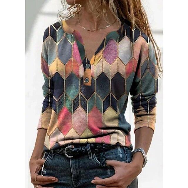 Per donna Stile vintage Fantasia geometrica Felpe con cappuccio da donna Manica lunga Maglioni cardigan A V Autunno Primavera Blu Viola Giallo