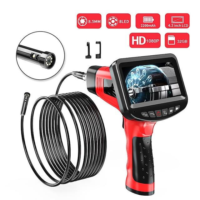 8,5 mm endoskop high definition kamera bilreparationsmotor industrielt rør håndholdt 4,3-tommer en-skærm dual-lens elektronisk klimakanal hård ledning 10m med 32g tf-kort