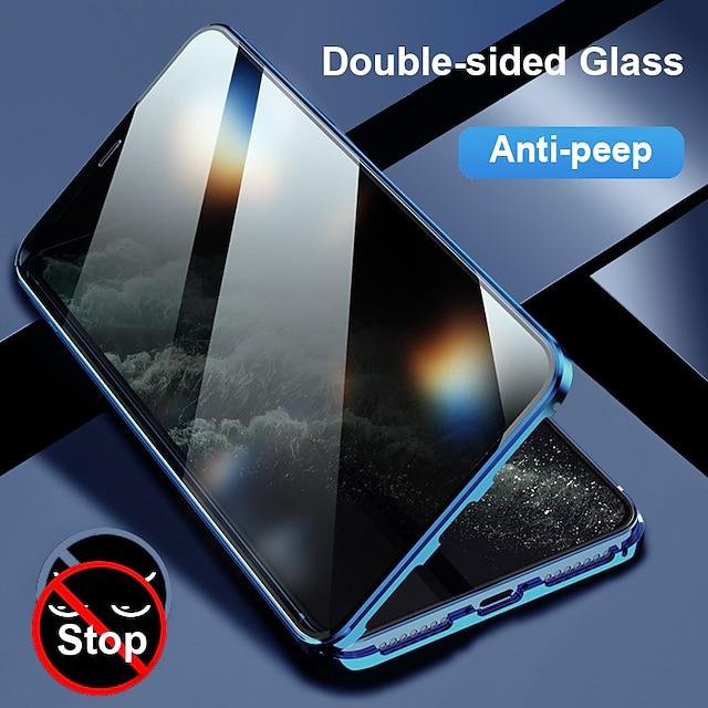 телефон Кейс для Назначение Apple Чехол Флип-кейс iPhone 12 Pro Max 11 SE 2020 X XR XS Max 8 7 6 Защита от удара Флип Прозрачный Прозрачный Закаленное стекло Металл