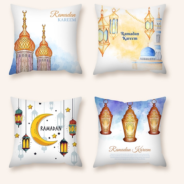 Cushion Cover 4PCS Ramadan Short Plush Soft Decorative Square Throw Pillow Cover Cushion Case Pillowcase for Sofa Bedroom  Superior Quality Machine Washable