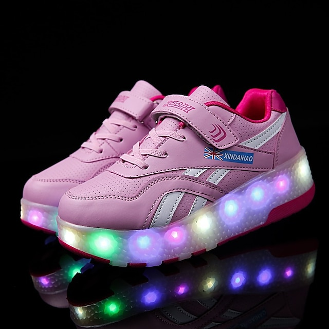 Unisex Trainers Athletic Shoes Comfort LED Shoes USB Charging PU Heelys Shoes Big Kids(7years +) Little Kids(4-7ys) Daily Walking Shoes LED Pink Black Fall Spring / Rubber