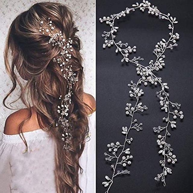 bridal rose gold and gold silver extra long pearl and crystal beads bridal hair vine wedding head piece bridal hair accessories headband hair jewelry hair accessories (silver)