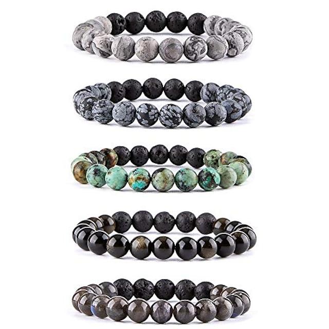 lava rock stone essential oil diffuser bracelet - natural semi precious gemstone beads healing crystal bracelet(#3 set of 5)