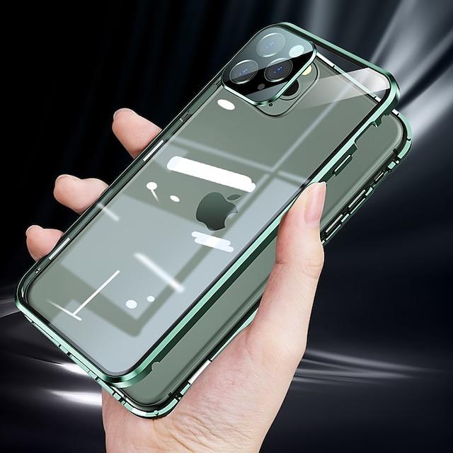 magnetiskt telefonfodral för apple iphone 13 12 11case adsorption dubbelsidigt härdat glas skyddande fodral med kameralinsskydd för iphone 11 pro max xr xs max