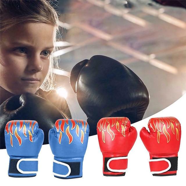 قفازات ملاكمة الحقيبة قفازات تمرين الملاكمة قفازات الملاكمة إلى الملاكمة فنون قتالية منوعة(MMA) اصبع كامل واقي جلد للأطفال رجالي - أسود أحمر أزرق